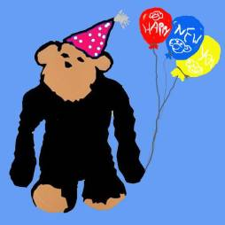 New Years Monkey with Balloons